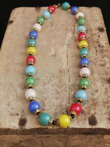 Vintage Czech Multicoloured Glass Bead Necklace. Harlequin. Deco