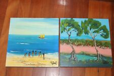 PAIR OF ORIGINAL NICK PETALI OIL ON CANVAS PAINTING, VIBRANT AND DREAMLIKE WORK