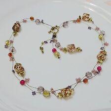 "Charm Jewelry Elegant-Design-Mulit Color Crystal-Fashion Necklace 16"" NK1001"
