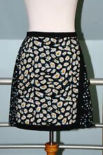 J. Crew Black Multi Color Mixed Print Faux Wrap Pleated Back Silk Skirt Size 2