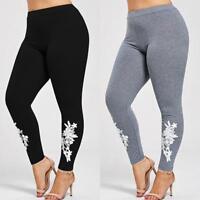 Womens Pants Plus Size Lace Applique Elastic Leggings Trousers Yoga Sports Pants