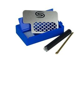 """All in One SMOKIT DUGOUT w/ 2"""" METAL PIPE/ GRINDER/ POKER/STORAGE - BLUE"""