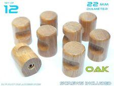 "12 Small Kitchen Door Knobs Handles Drawers Cabinets Cupboard 0.87"" 22mm Wooden"