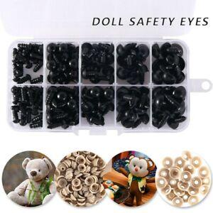 100X plastique noir yeux de sécurité pour nounours/poupées/jouet/peluche DIY