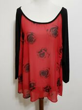 Torrid Size 2 Black Red Roses Floral Chiffon Sheer Blouse Open Back Romantic