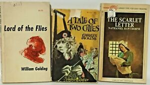 1950's 3 Book Lot Scarlet Letter Lord of the Flies A Tale of Two Cities Vintage