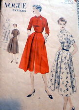 LOVELY VTG 1950s DRESS VOGUE Sewing Pattern 12/30