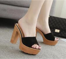 Womens Platform Mules Slippers Summer Sandals Shoes High Block Heels Party Pumps