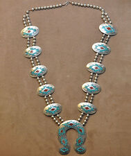 Massive, Heavy Native American Sterling Silver, Turquoise and Coral Necklace