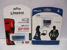 2011 Kingston & 2011 PNY 4 GB USB Drives Still New On Sealed Cards