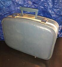 """Vintage Blue Suitcase Train Case Travel 17""""x12""""x5"""""""