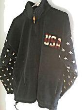 Fleece Jacket Bear Ridge Ladies sz large USA Stars & Stripes Red White Blue