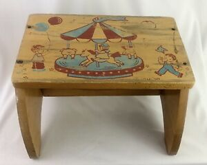 Vintage Wood Toddler Child Chair or Step Stool Merry Go Round Design