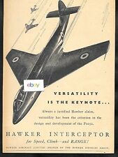 HAWKER AIRCRAFT LTD P1052 INTERCEPTOR JET VERSATILITY IS THE KEYNOTE 1949 AD