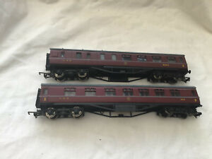 MAINLINE 00 PAIR OF LMS MAROON PERIOD 3 COACHES 5545 ( 57ft ) & 3936 ( 60ft )