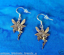 FANTASY FAIRY ANGEL NYMPH SILVER CHARM EARRINGS~STERLING HOOK~GIFT FOR HER WOMEN