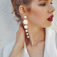 Women's Elegant Big Simulated Pearl Long Tassel Earrings Ear Stud Jewelry Gift