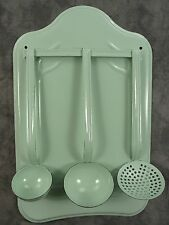 FRENCH COUNTRY JADEITE GREEN ENAMEL UTENSIL WALL RACK WITH 3 PIECE LADLE SET