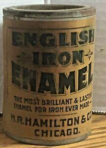 Vintage Paper Label Paint Can English Iron Enamel