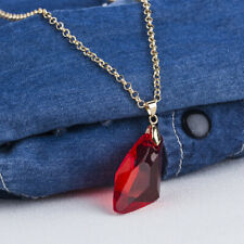 "Red Crystal Gold Plated Women Jewelry Gems Pendant Necklace Gift 20 1/2"" NL252"