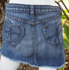 JUICY COUTURE Distressed Denim Blue Jean Micro MINI Skirt Size Sm Short Womens