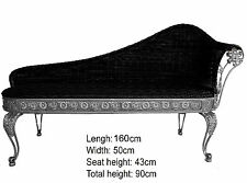 Chaise Longue Slver Color Iron Base & Black Wicker Soft seat Out Or In Door NEW