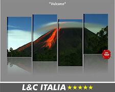 Vulcano 4 QUADRI MODERNI ARREDO CASA UFFICIO ASTRATTO STAMPA TELA ERUZIONE MONTE