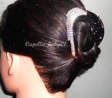 Capella *USA* New STUNNING Black Rhinstone Edgy Glam Bridal Hair Clamp Claw LM7