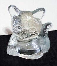 Partylite Clear Glass Tealight Candle Holder Cat Kitty Kitten