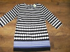 NEW BEAUTIFUL BLACK AND WHITE SPOTTED LONG SLEEVED TOP / DRESS SIZE 16