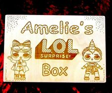 LOL Doll Storage Box Wooden Engraved & Personalised  Large Solid Type