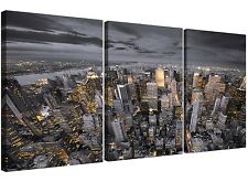 Black and White New York Skyline - Multi Canvas Set of 3 - 125cm Wide - 3269