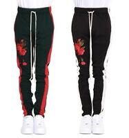 EPTM Men's Contemporary Techno Side Zipper Long Drawstring Patch Track Pants