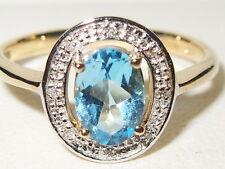Beautiful 9ct Yellow Gold Blue Topaz & Diamond Halo Engagement Ring
