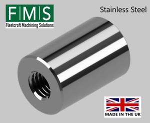 Stainless Steel Machined Threaded Boss - Standoff - Bush - Metric Threads.