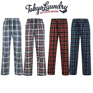 Men's Tokyo Laundry Comfy Checked Pyjama Lounge Pants PJ Bottoms 100% Cotton