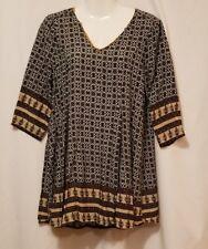 Tunic Dress Shirt She + Sky Black White Size Medium Patterned