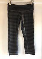 Lululemon Wunder Under Crop II Textured Stripe Slate Deep Coal Size 6