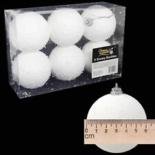 White Snow Effect Christmas Tree Hanging Baubles - 6 Pack 60mm
