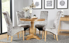 Cavendish Round Oak Dining Table and 4 Velvet Chairs Set (Boston Silver)