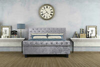 4ft6 or 5FT Luxury Crushed Velvet Sleigh Bed Diamante & Memory Mattress Options