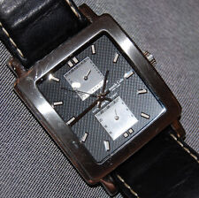Kenneth Cole Men's KC1235 Chronograph Square Black Leather Watch NEW BATTERY!