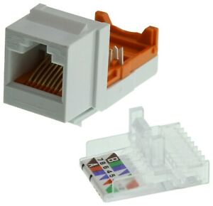 Panduit NK5E88MWH-  Modular Connector, Keystone, White, RJ45 Wired Qty 25