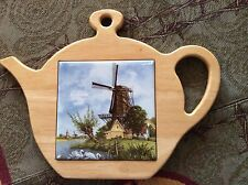 """EVC! From Holland """"Ter Steege"""" Tile/Wood Cheese Plate/Board Shaped As a Tea Pot."""