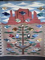 Vintage Wool Native American Indian Navajo Tree/Life Bird Rug Blanket Tapestry