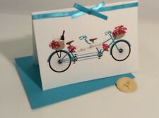 New Papyrus Wedding Just Married Bicycle Card Teal Pink Flowers