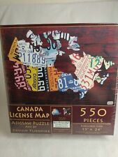 "Sunsout Canada LIcense Map Jigsaw Puzzle 550 Piece 15"" X 24"" , Design Turnpike"