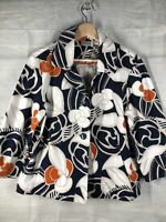 Chicos Size 1 Blue With FUN Big Floral Collared Button Up Jacket Blue Orange