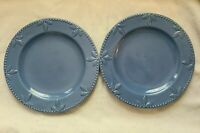 "Set of 2 Signature Housewares ""Sorrento"" Blue Stoneware Dinner Plates - 11.5"""