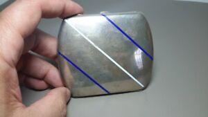 Antique Vintage Silver Cigarette Case Art Deco White Blue Enamel 800 Hallmark